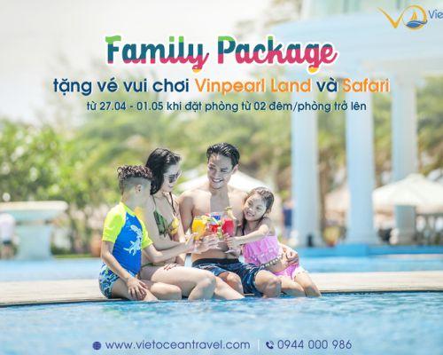"""Tặng vé vui chơi Vinpearl Land và Safari khi đặt phòng từ 02 đêm tại Vinpearl với gói """"Family pakage"""" yêu thương"""